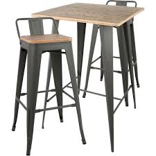 Oregon 3 Piece Low Back Pub Dining Set In Grey Metal & Brown By Lumisource