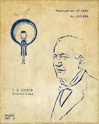 edison lightbulb patent artwork vintage digital by