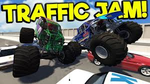 100 Monster Trucks Crashing MONSTER TRUCKS CRASH INTO TRAFFIC JAM BeamNG Gameplay Crashes