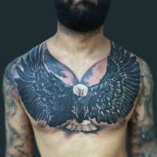Fantastic Black Feather Bald Eagle Tattoo Mens Chest