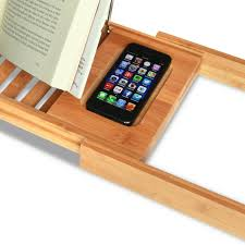 Bathtub Caddy With Reading Rack by Expandable Deluxe Bamboo Bathtub Caddy With A Bar