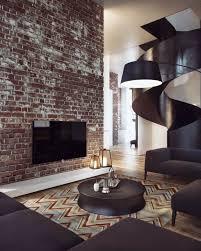 die klinker wand wirkt wie ein akzent im wohnzimmer design
