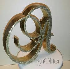 3D Monogram Wedding Cake Topper 4 Inch Glitter Sparkle BLING Toppers Vintage Style Letters