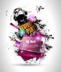 Disco Night Club Flyer Layout With DJ Shape And Music Themed Elements To Use For Event