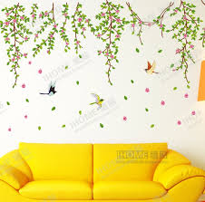 Spring Willow Vines Wall Stickers Home Living Room Cheap Adhesive Decoration Green Tree Leaves Papers Decals In From Garden On