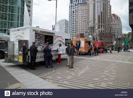 Food Trucks In Downtown Financial Area Of Boston USA Stock Photo ...
