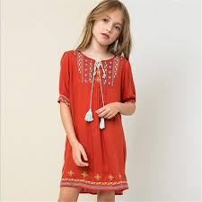 Teenager Embroidery Dresses Junior Nation Floral Dress 2017 Big Baby Girls Summer Clothing Childrens Clothes