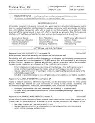 Sample Nurse Resume New Grad Graduate Examples Template With Registered Eye Institute Professional Nursing Experience For