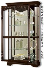 howard miller large cherry curio display cabinet mirror 680497 felicia