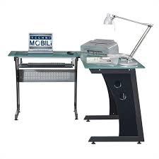 Techni Mobili Computer Desk With Side Cabinet by Techni Mobili L Shaped Frosted Glass Computer Desk In Graphite