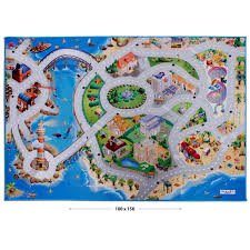tapis de jeux voitures tapis jeu enfant grand tapis voiture thème bord de mer 100 x