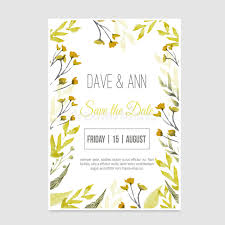 Download Vector Watercolor Save The Date Card In Rustic Style With Green Leaves On Craft Paper