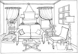 Sofa Chair Drawing With Lamp And A Large Potted Plant Hand Drawn Furniture Arm Pencil In