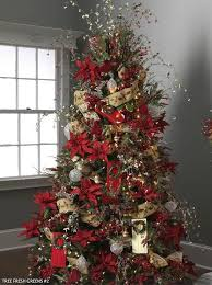 Poinsettias And Ribbon Christmas Trees Pinterest