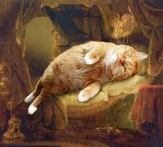 Fat Cat Photoshopped Into Famous Artworks 5