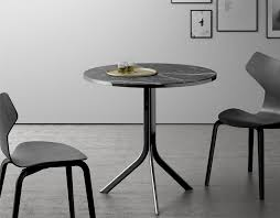 Round Black Marble Top Bistro Table With Minimalist Stainless Steel Base A Couple Of Modern Dining