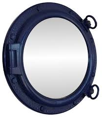 porthole mirror navy blue beach style wall mirrors by