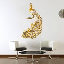 Peacock Golden Wall Sticker Birds Decal Art Livingroom Vinyl Mural Graphics Hall