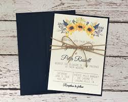 Sunflower Invitation Navy Wedding Blue Rustic