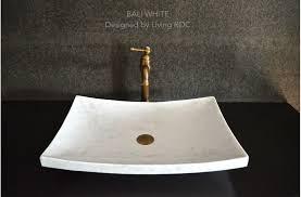 vasque en marbre à poser 60x40cm design blanc bali white