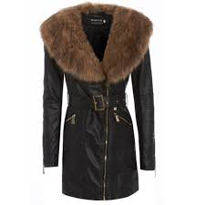 new womens faux fur collar pu leather belted black long trench