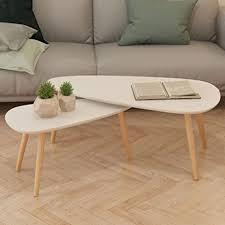 nyyi beistelltisch set couchtisch 2er set satztisch weiss tisch wohnzimmer runde satztische set für balkon lesetisch für kinder mit 100 x 50 x 40 cm