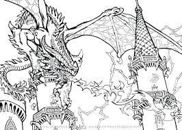 Dragon Coloring Pages For Adults Art Of Dragons Scary