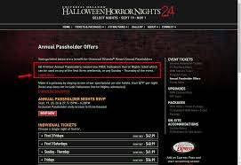 Halloween Horror Nights Express Pass by Free Hhn Ticket With Premier Pass Eligible Dates Halloween