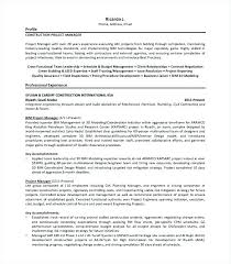 Construction Project Manager Resume Entry Level E Sample Template
