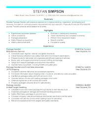 Material Handling Resume Handler Job Duties For Pay A Ups Package Review Supervisor