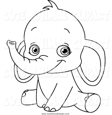 Lineart Cute Sitting Baby Elephant