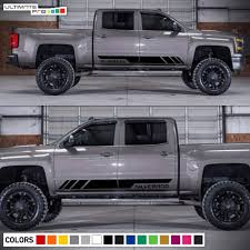 Decal Sticker Side Stripes Set For Chevrolet Silverado 2014 2017 ... Lifted Chevrolet Silverado 1500 Alpine Luxury Edition Rocky Lund Intertional Bushwacker Products F 2014 W Zone 65quot Lift Kits On 20x10 Wheels Putco Stainless Steel Fender Trim 97296 1617 Bushwacker Cost To Install Oem Flares Ford F150 Forum Community Of 62018 Chevy Egr Painted 791574gan 1091907 Flat Style Matte Black Front And Rear Dodge For Trucks Jeeps Suvs Universal Custom Fit Flares Or Mud Flaps