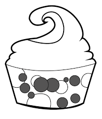Outline Cupcake With Face