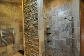 Rustic Bathtub Tile Surround by Rustic Bathroom With Stacked Stone Tile And Glass Shower Door Also
