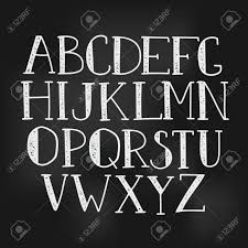 Doodle Alphabet Vector Simple Hand Drawn Letters Thin Serif Textured Font On Chalk Board Texture