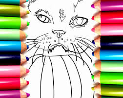 Cute Fat Cat COLORING PAGE Download Ball