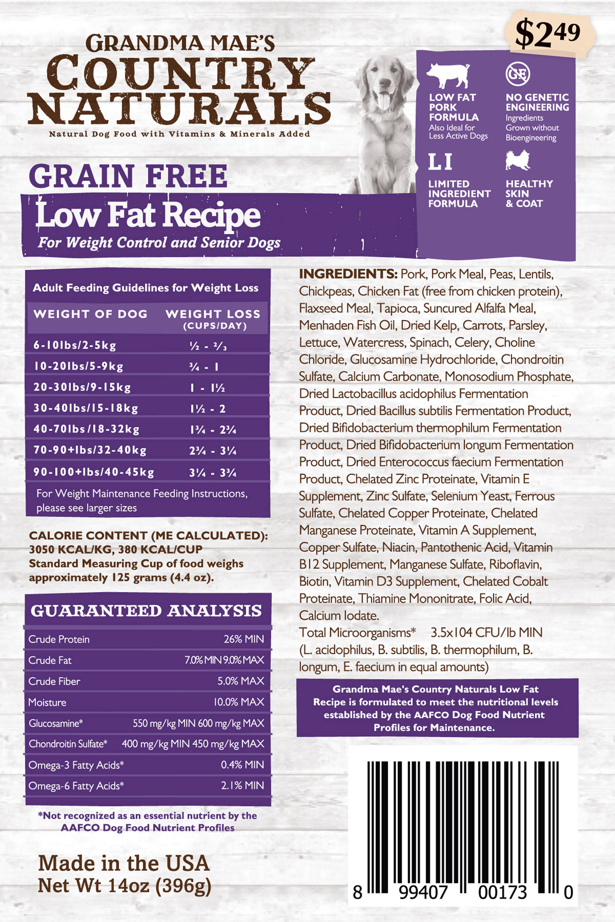 Grandma Mae S Country Nat Grain Free Low Fat Dog Food 4 lb
