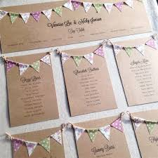 Vintage Wedding Table Plan With Bunting