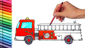 Monster Truck Fire Truck Police Car Drawing And Coloring Pages - How ...