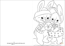 Click The Easter Cards With Lovely Bunnies Coloring Pages To View Printable Version Or Color It Online Compatible IPad And Android Tablets