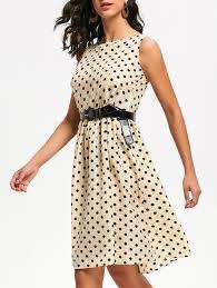 retro style sleeveless boat neck polka dot dress for women in