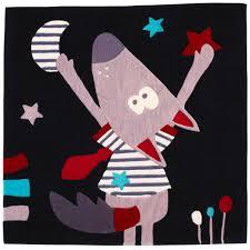 chambre sauthon teddy mister bouh tapis 110x110 noir de sauthon baby déco tapis aubert