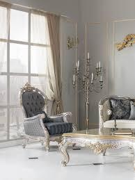 casa padrino luxus barock wohnzimmer sessel mit dekorativem kissen grau blau silber gold 82 x 75 x h 122 cm edel prunkvoll