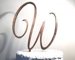 Wooden Wedding Cake Topper Letter W Monogram Rustic Handmade