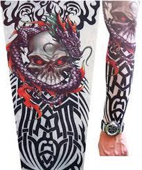 Get Quotations Fake Temporary Tattoo Sleeve Body Art Arm Stocking Designs Tribal Dragon Skull
