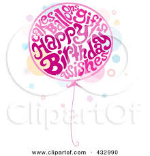Balloon Made Pink Birthday Words Preview Clipart
