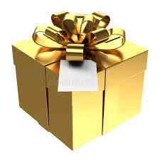 Download Golden Gift Box With Paper Card PNG Transparent Background Stock Illustration of