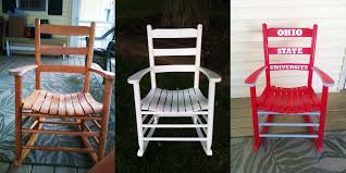 Ohio State Rocking Chair. Perfect For Day Drinking :) Just Sanded ... Hardwood Rocking Chair Ohio State Jumbo Slat Black Ncaa University Game Room Combo 3 Piece Pub Table Set The Best Made In Amish Chairs For Rawlings Buckeyes 3piece Tailgate Kit Products Smarter Faster Revolution Axios Shower Curtain 1 Each Michigan Spartans Trademark Global Logo 30 Padded Bar Stool