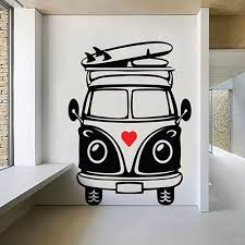 VW Camper Van Wall Art Decal Vinyl Sticker Decor Mural Transfer Surf Travel Love