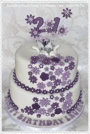 Cascading Purple Flowers 21st Birthday Cake
